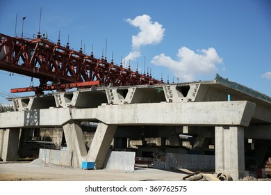 DECEMBER 31, 2015 : NONTHABURI - THAILAND : Under-construction of concrete high speed way with heavy equipment in Nonthaburi province, Thailand.