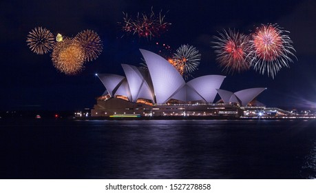 December 31, 2019. Sydney, Australia. Beautiful fireworks show over the Sydney Opera house. Celebration concept with massive fireworks at New Years Eve in Sydney.