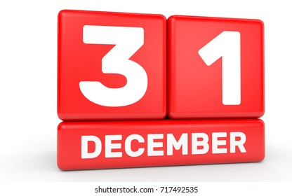 December 31. Calendar on white background. 3D illustration.