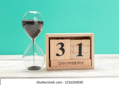 December 31st. Day 31 of month, calendar on workplace background. Winter time