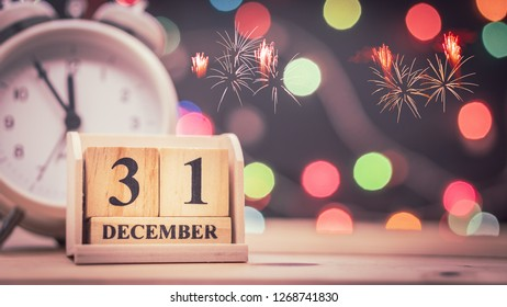 December 31st. Day 31 of December set on wooden calendar with bokeh background
