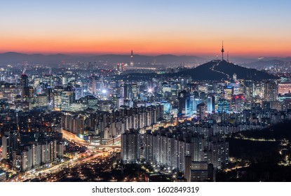 december 31th in 2019, landscape of seoul in south republic korea, in night.