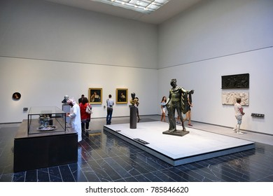 DECEMBER 3rd 2017: Interior with visitors in the Louvre Museum of Abu Dhabi, United Arab Emirates