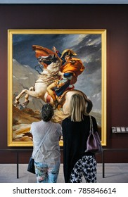 DECEMBER 3rd 2017: Painting of Napoleon Bonaparte on a horse in the Louvre Museum, Abu Dhabi, United Arab Emirates