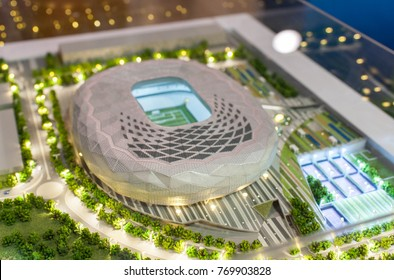 December 4, 2017 Moscow, Russia. The mock-up of the Qatar Foundation Stadium  at which the matches of the FIFA World Cup 2022 in Qatar will be held.