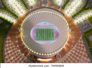 December 4, 2017 Moscow, Russia. The mock-up of the Khalifa International Stadium at which the matches of the FIFA World Cup 2022 in Qatar will be held.