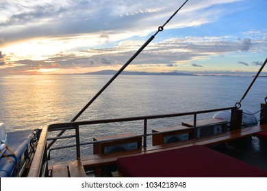 December 4, 2017 - Sunset scene in the middle of the sea of Raja Ampat Islands, Indonesia, looking out from the Sea Safari Cruise VI