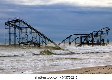 December 5, 2012 -Seaside Heights, NJ, USA: Superstorm Sandy left the Jetstar roller coaster sitting in the Atlantic Ocean. One month later, it remains a symbol of the destruction in Seaside Heights.