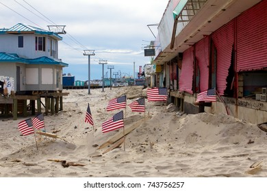 December 5, 2012 -Seaside Heights, NJ, USA: A month after Superstorm Sandy, the north end of Seaside Heights' boardwalk is now gone, a small memorial left behind.