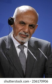 DECEMBER 5, 2014 - BERLIN: Afghan President Ashraf Ghani Ahmadsai at a press conference after a meeting with the German Chancellor in the Chanclery in Berlin.