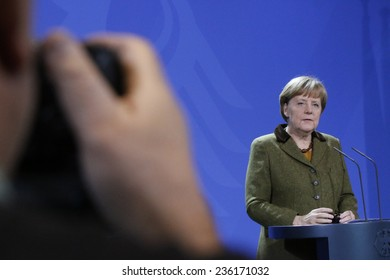 DECEMBER 5, 2014 - BERLIN: German Chancellor Angela Merkel at a press conference after a meeting with the Afghan President in the Chanclery in Berlin.
