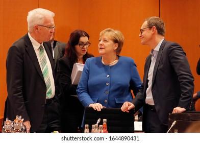 DECEMBER 5, 2019 - BERLIN: Winfried Kretschmann, Angela Merkel, Michael Mueller at a meeting in the Bundeskanzleramt (Chanclery).