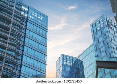 December 5, 2019 partial details of buildings in Suzhou financial and economic center city, Jiangsu Province, China