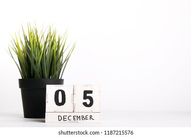 December 5. Day 5 of december month, calendar on white background. Winter time. New year concept