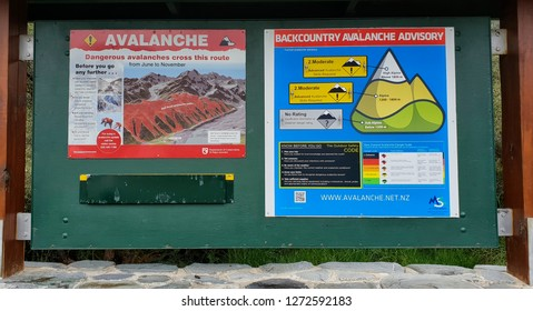 December 5th, 2018 - Hooker Valley Avalanche Sign, Aoraki, Mount Cook, New Zealand, South Island, NZ