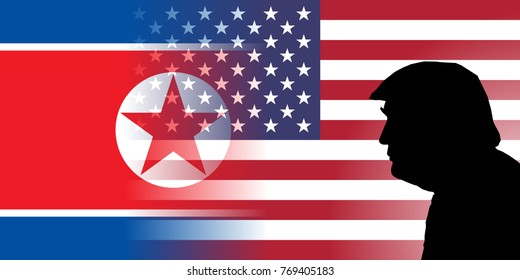 DECEMBER 6, 2017:  An illustration showing the silhouette of United States President Donald Trump against the US and North Korean flag merged together at the background.