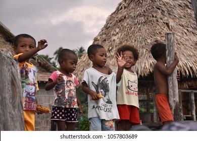 December 6, 2017 - Kampoeng Bni Wisata, Arborek, Raja Ampat, Indonesia - local kids in a fisherman village