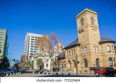 December 6, 2017 San Jose / CA / USA - Urban landscape in downtown San Jose at the entrance in Plaza de Cesar Chavez, Silicon Valley, south San Francisco bay, California