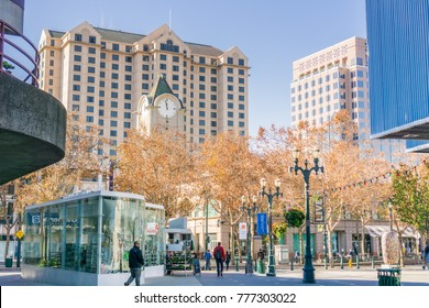 December 6, 2017 San Jose / CA / USA - Pedestrian area in downtown San Jose, south San Francisco bay area