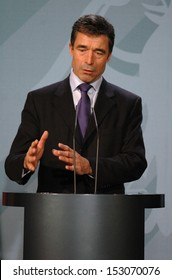 DECEMBER 7, 2005 - BERLIN: Anders Fogh Rasmussen at a press conference after a meeting with the German Chancellor in the Chanclery in Berlin.