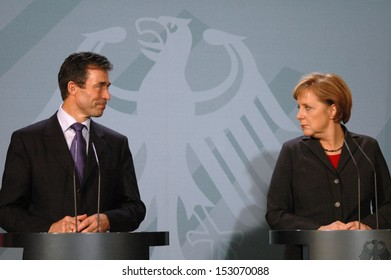 DECEMBER 7, 2005 - BERLIN: Anders Fogh Rasmussen, Chancellor Angela Merkel at a press conference after a meeting in the Chanclery in Berlin.