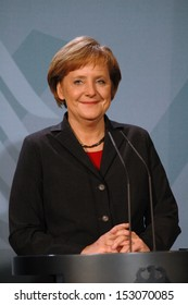 DECEMBER 7, 2005 - BERLIN: Chancellor Angela Merkel at a press conference after a meeting with the Denish Prime Minister in the Chanclery in Berlin.