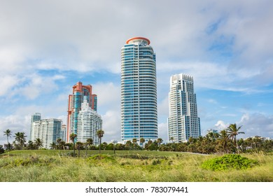 December 7, 2017: Miami Beach, Florida: Modern condominiums in Miami Beach, Florida.  Miami Beach has a population of 87,000.