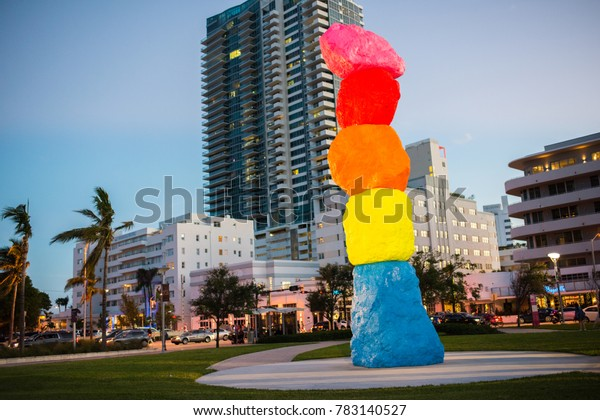 "December 7, 2017: Miami Beach, Florida: ""Miami Mountain"", an artistic creation by the artist Ugo Rondinone."