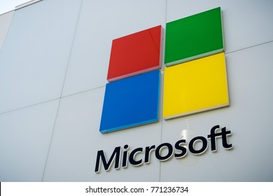 December 7, 2017 Palo Alto / CA / USA - Microsoft Logo at the store situated at Stanford Shopping Center, Silicon Valley, San Francisco bay area