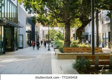 December 7, 2017 Palo Alto / CA / USA - Walking through the open air Stanford shopping center, San Francisco bay area
