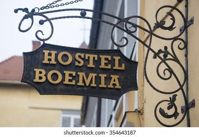 "DECEMBER 8, 2015 - BRASOV: the ""Hostel Boemia"" sign on a building in Brasov"