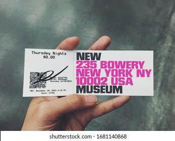 December 8 2015 : The New Museum free entrance ticket. The New Museum offer free entry or pay-what-you-wish on Thursday night.