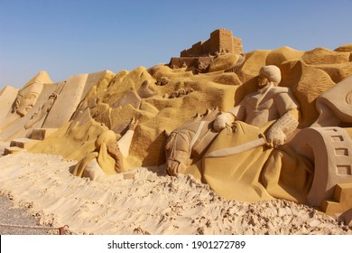 December 8, 2020 Egypt, Hurghada, sand city with sculptures
