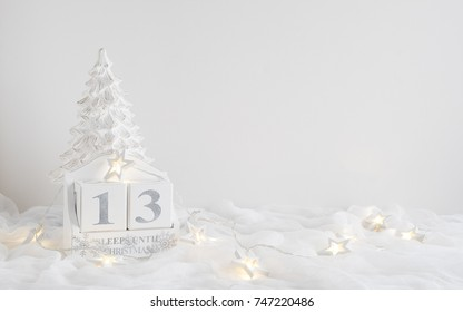 December calendar for Christmas. Displays number of sleeps/days until christmas - 13 sleeps. Great for using in social media campaigns.
