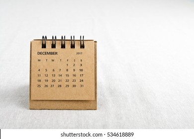 December. Calendar sheet. Two thousand and seventeen year calendar on bright background with copy space on right side.
