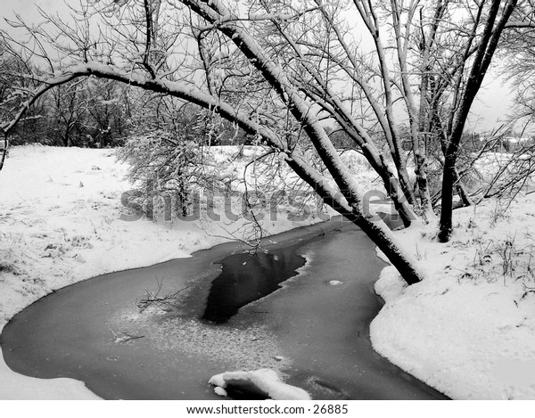 A December image of a frozen brook in Northern Vermont