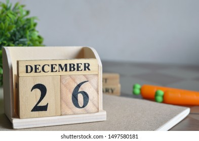December Month, Appointment date with number cube design. Date 26.
