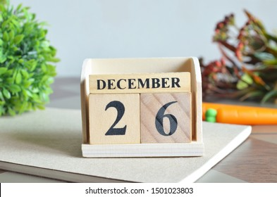 December Month, Appointment date with number cube design for background. Date 26.