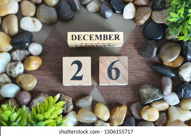 December month, Background with number cube, colorful stone, design in natural concept, Date 26.