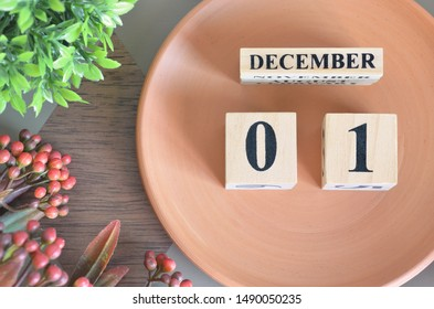 December month design with flower and earthenware, 1.
