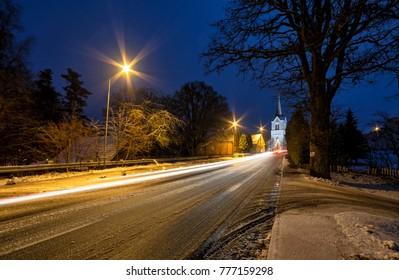 December night in small Swedish village