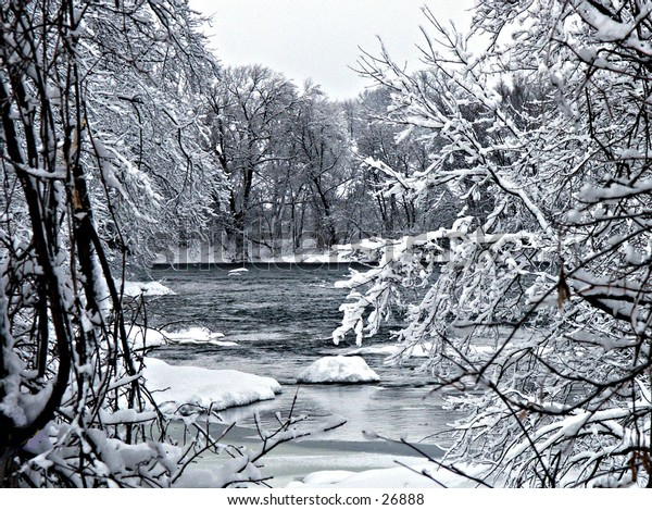 A December scene of the Winooski River in Northern Vermont