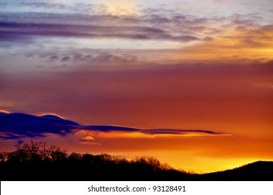 December sunrise, Webster County, West Virginia, USA