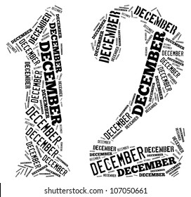 December text graphics composed in number 12 on white background