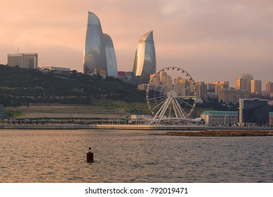 December twilight in modern Baku. Azerbaijan