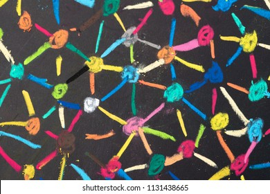Decentralize, bond or social network concept, macro view of colorful pastel link and connect chalk line between multiple dot or peers on blackboard.