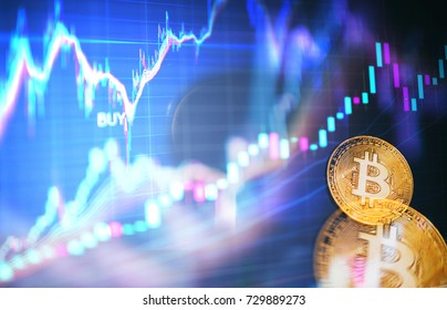 Decentralized finance banking with bitcoin cryptocurrency, on line payment blockchain distribution concept. Trading charts background