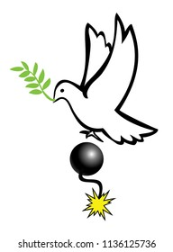 Deceptive Peace Initiative. The dove stands for peaceful solution to the conflict, the bomb stands for war