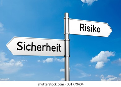 """Decision between the German words """"Sicherheit"""" (security) and """"Risiko"""" (risk) (3D Rendering)"""