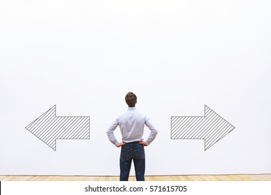 decision making, choice or doubt concept, businessman thinking and choosing direction,  business strategy